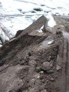 Yoğun yağışlardan dolayı yol çöktü